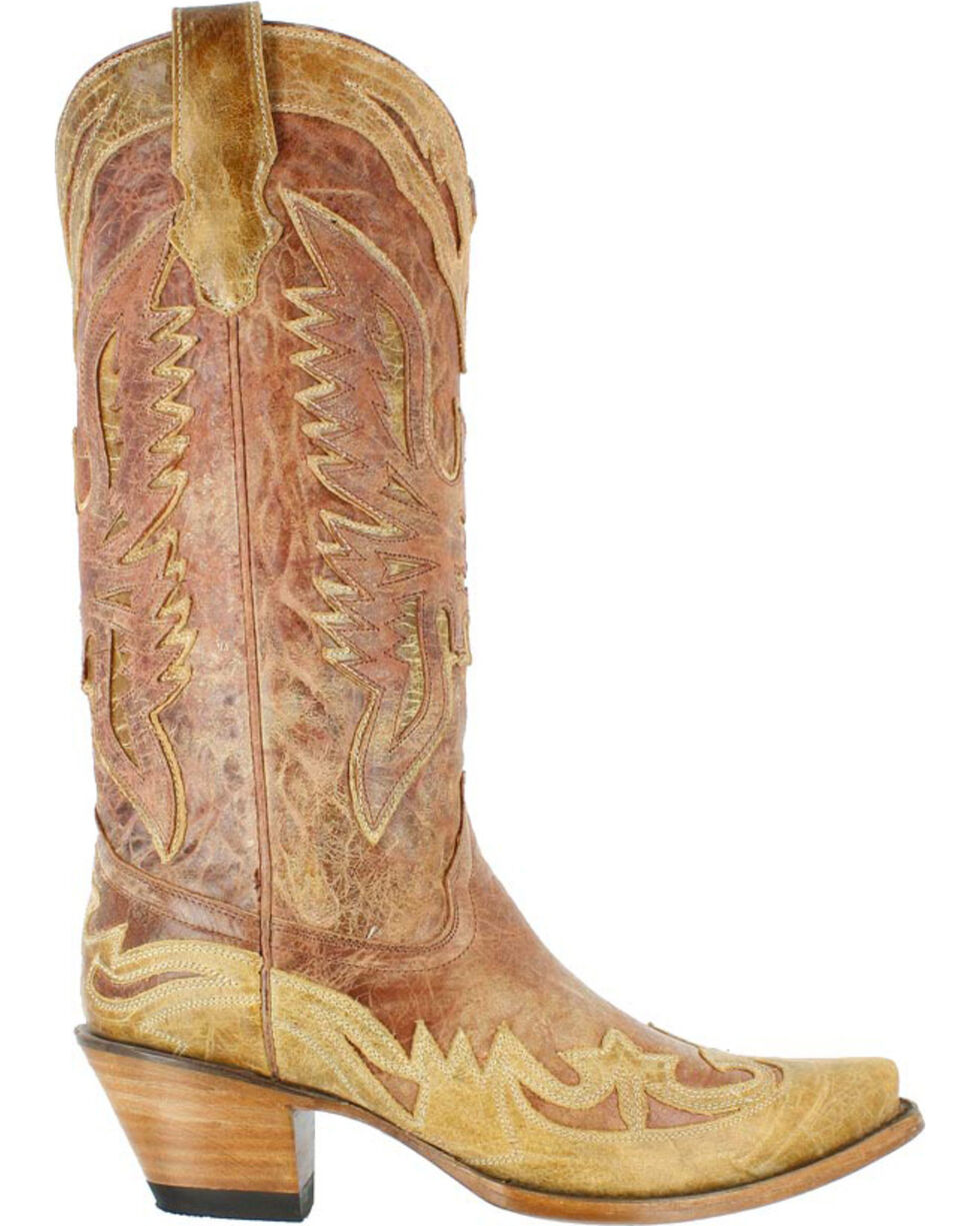 Corral Women's Crackle Distressed Western Boots - Snip Toe, Distressed Brown, hi-res