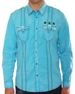 Austin Season Men's Blue Embroidered Long Sleeve Shirt , Blue, hi-res