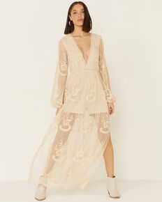 Wishlist Women's Lace Maxi Romper Dress, Natural, hi-res