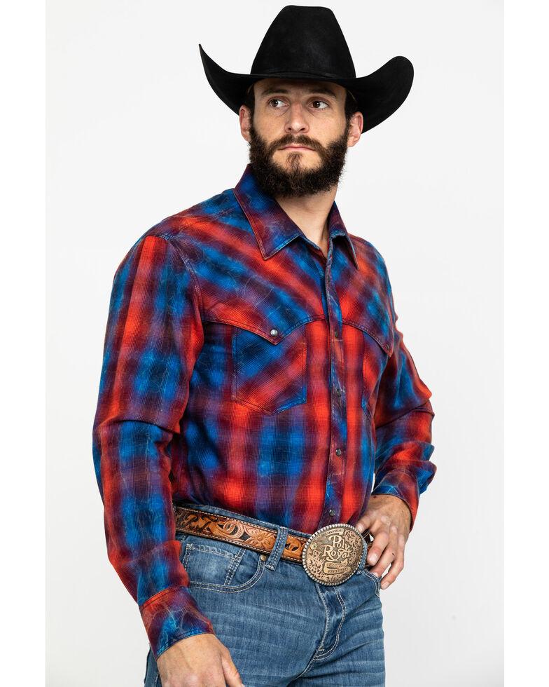 Rock & Roll Denim Men's Brushed Twill Plaid Long Sleeve Western Shirt , Red, hi-res