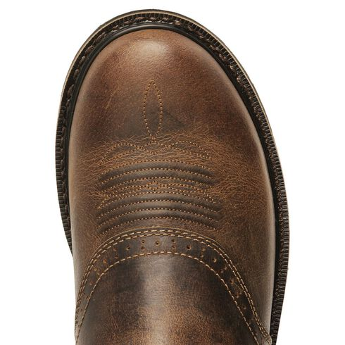 Justin Stampede Waxed Brown Saddle Waterproof Work Boots - Soft Round Toe, Waxed Brn, hi-res