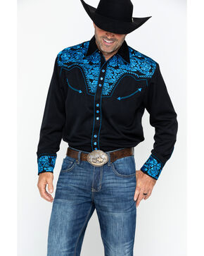 Scully Men's Western Woven Gunfighter Royal Shirt, Royal Blue, hi-res