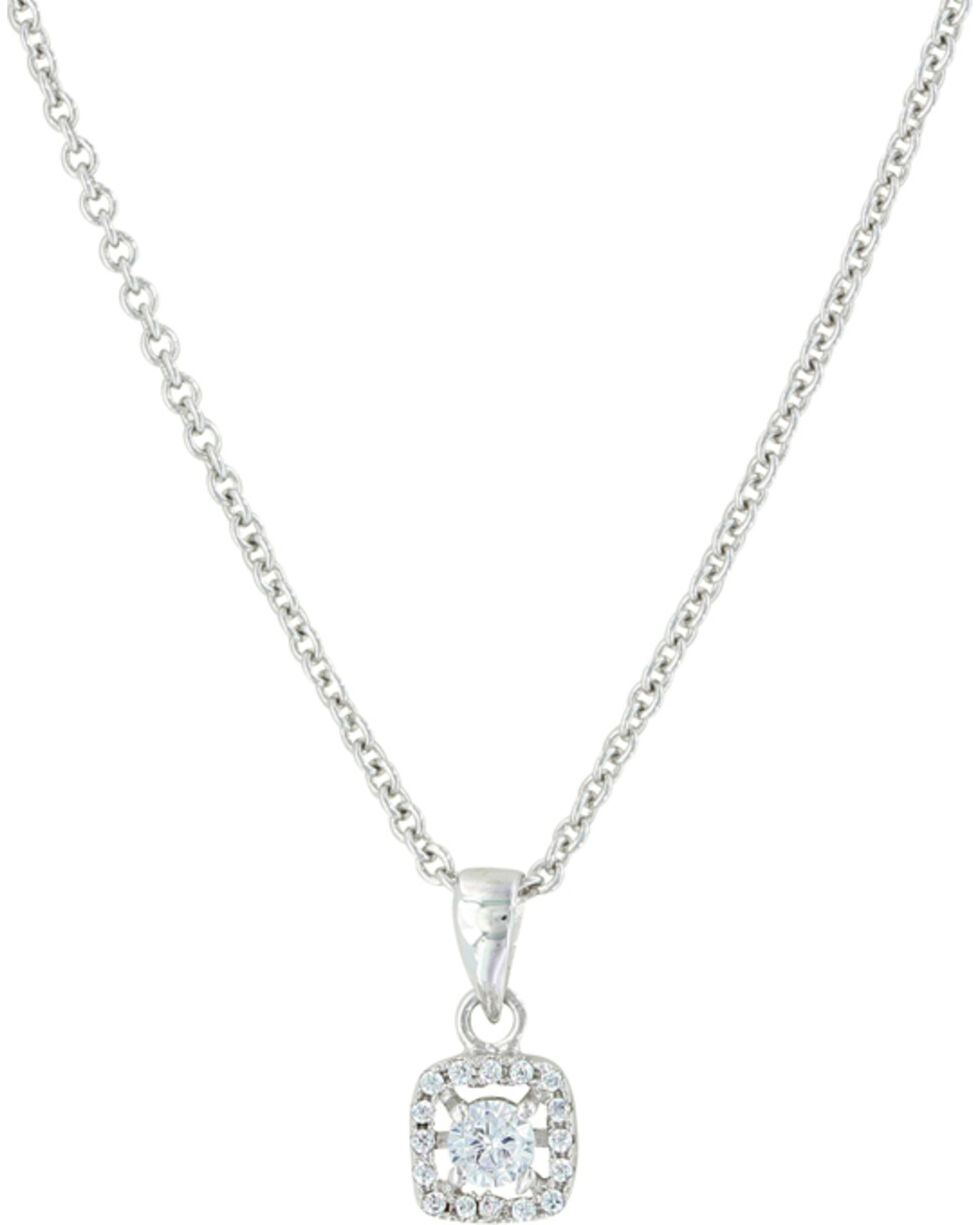 Montana Silversmiths Women's Box Star Necklace , Silver, hi-res