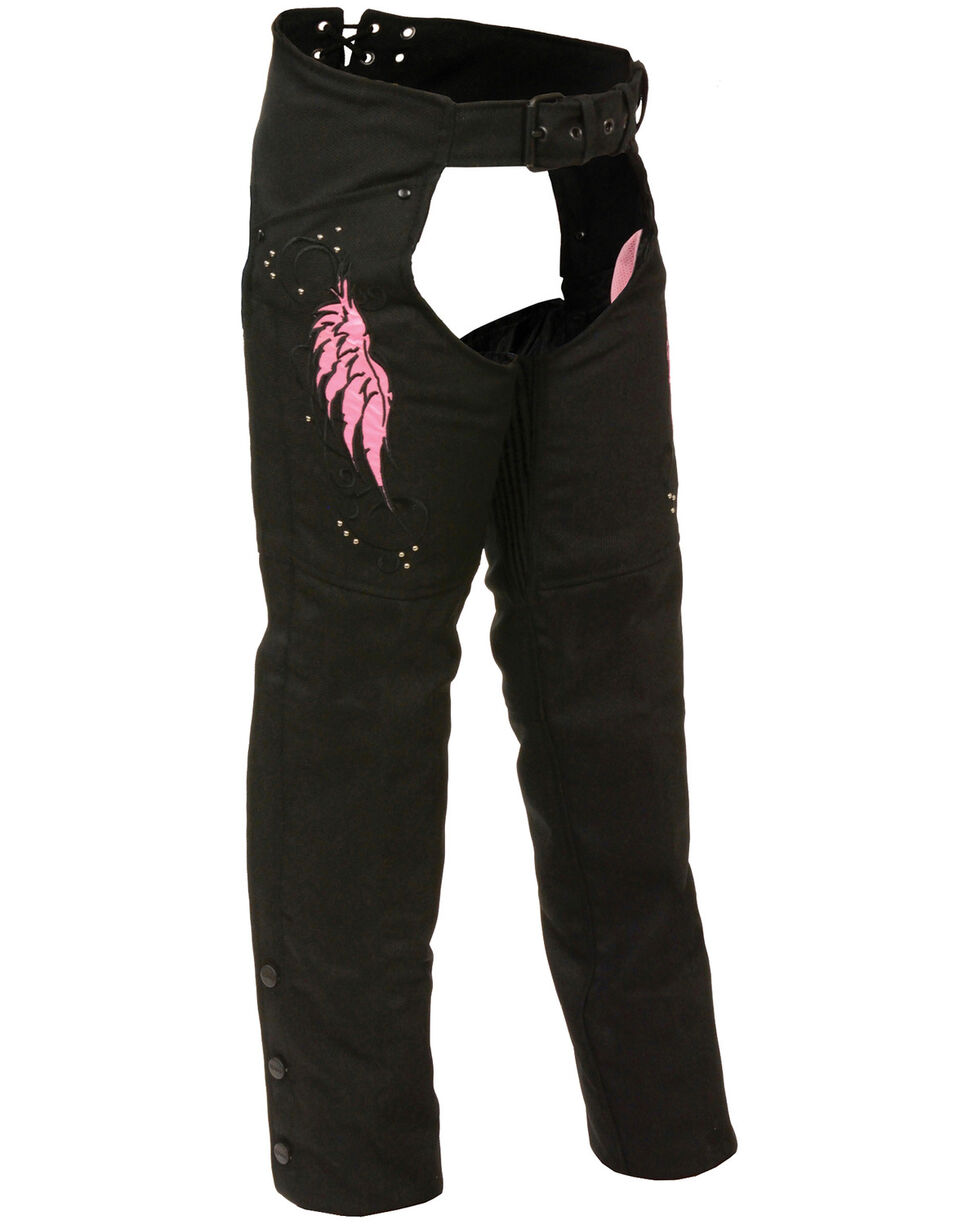 Milwaukee Leather Women's Textile Chap with Wing & Rivet Detailing - 3X, , hi-res