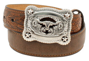 Nocona Boys' Tooled Billet Longhorn Buckle Belt, Brown, hi-res