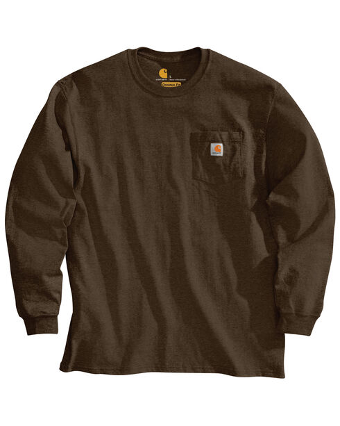 Carhartt Long Sleeve Pocket Work Shirt - Tall, Dark Brown, hi-res