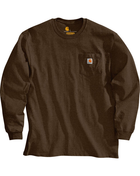 Carhartt Pocket Long Sleeve Work T-Shirt, Dark Brown, hi-res