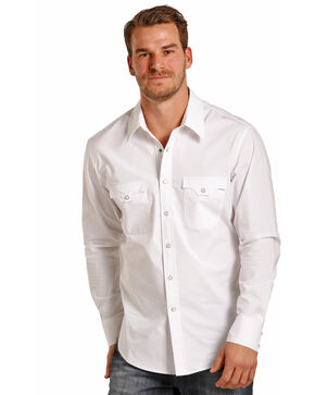 Rock & Roll Cowboy Men's White Long Sleeve Snap Shirt, White, hi-res