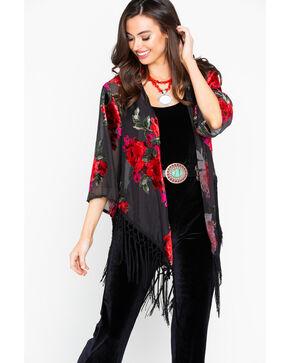 Wrangler Women's Velvet Burnout Fringe Long Sleeve Duster, Black/red, hi-res