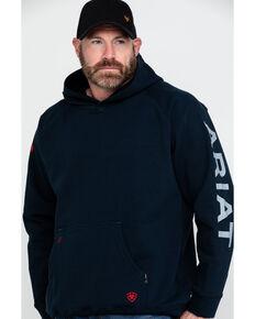 Ariat Men's Navy FR Primo Fleece Logo Hooded Work Sweatshirt , Navy, hi-res