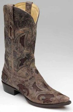 Corral Full Quill Ostrich Inlay Cowboy Boots - Snip Toe, Brown, hi-res
