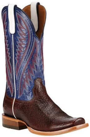 Ariat Pebbled Wine Hoolihan Cowboy Boots - Square Toe , Burgundy, hi-res