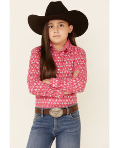 Panhandle Girls Hot Pink Teepee Aztec Print Long Sleeve Snap Western Shirt , Pink, hi-res