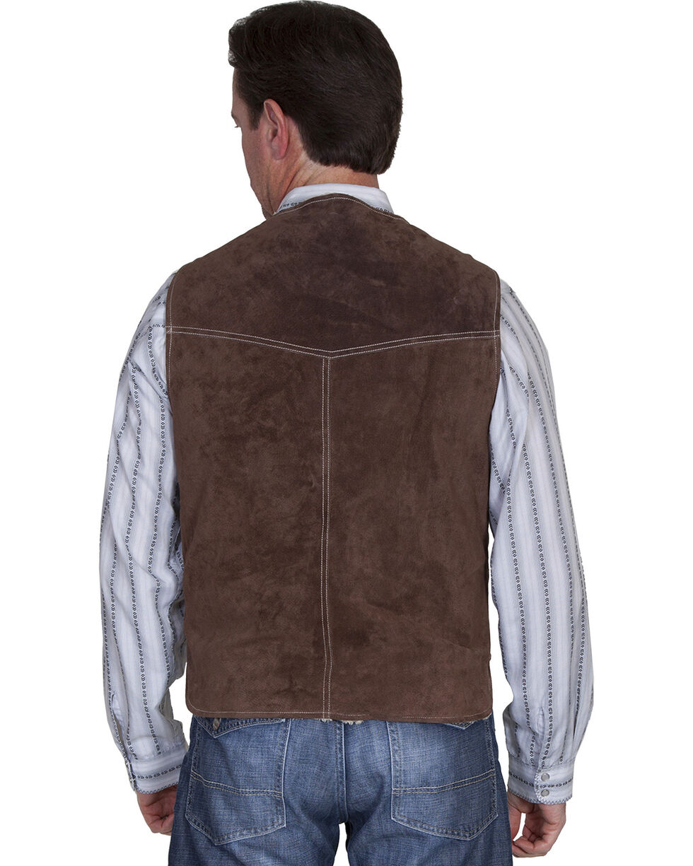 Scully Boar Suede Leather Vest, Chocolate, hi-res
