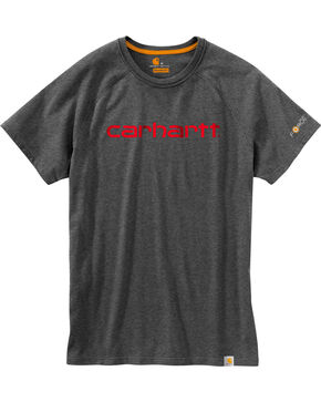 Carhartt Force Men's Cotton Delmont Graphic Short Sleeve Shirt, Charcoal, hi-res