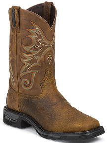 Tony Lama Sierra Badlands TLX Western Waterproof Work Boots - Square Toe, Brown, hi-res