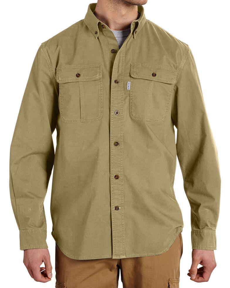 Carhartt Men's Foreman Solid Long Sleeve Work Shirt - Big & Tall, Beige, hi-res