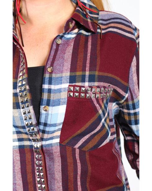 Shyanne Women's Rust Plaid Flannel Stud Pockets Long Sleeve Shirt  , Rust Copper, hi-res