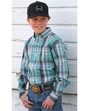 Cinch Boys' Long Sleeve Teal Plaid Button Down Shirt, Teal, hi-res