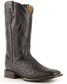 Ferrini Men's Full-Quill Ostrich Embroidered Western Boots - Wide Square Toe, Black, hi-res