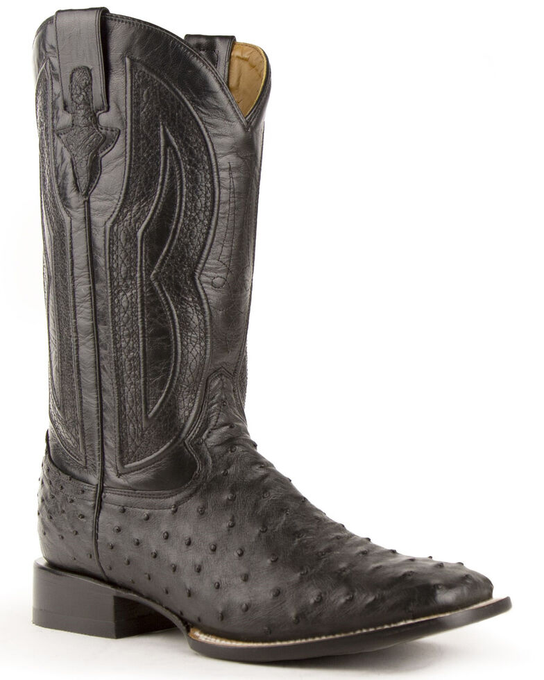 Ferrini Full Quill Ostrich Turquoise Embroidered Cowboy Boots - Wide Square Toe, Black, hi-res