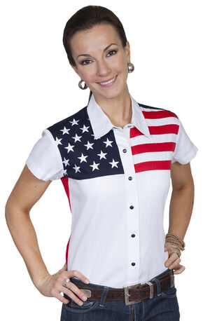 Scully American Flag Print Top, White, hi-res