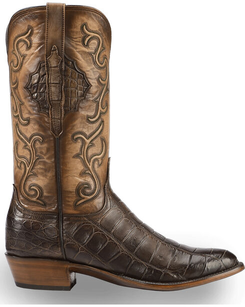 Lucchese Men's Handmade Ace Chocolate Giant Gator Western Boots - Round Toe , Chocolate, hi-res