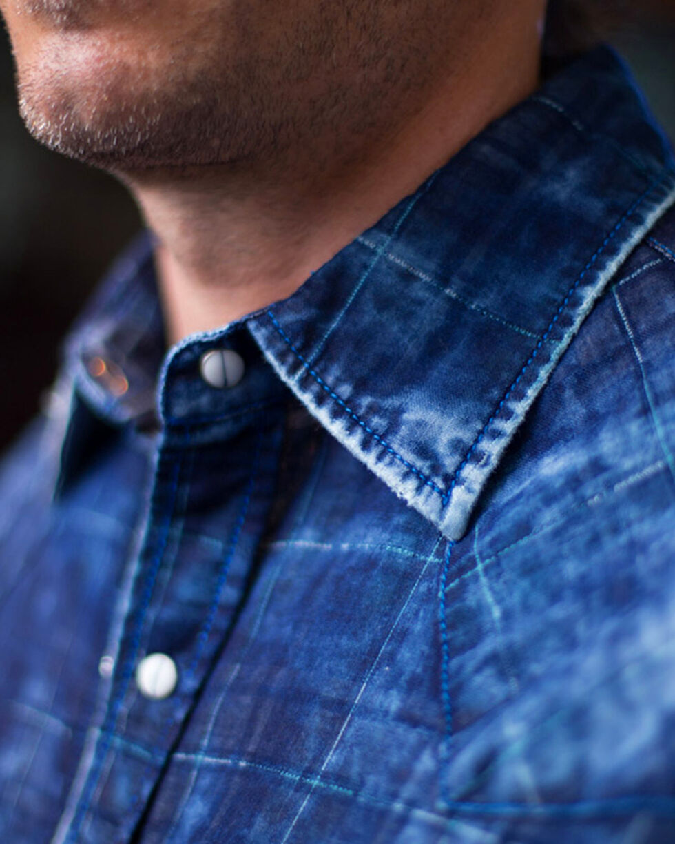 Ryan Michael Men's Indigo Midnight Double Face Plaid Shirt, Indigo, hi-res