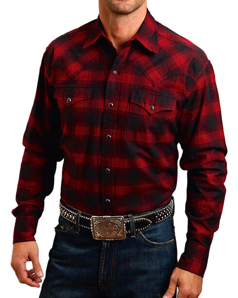 Stetson Men's Rugged Original Check Mate Flannel Shirt, Red, hi-res