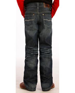 "Rock and Roll Cowboy Boys' Dark Wash Running ""V"" Jeans, Indigo, hi-res"