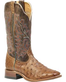 Boulet Men's Full Quill Ostrich Cowboy Boots - Wide Square Toe, Wood, hi-res