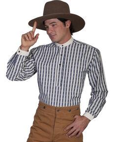 Rangewear by Scully Men's Diamond Print Striped Long Sleeve Western Shirt, Blue, hi-res