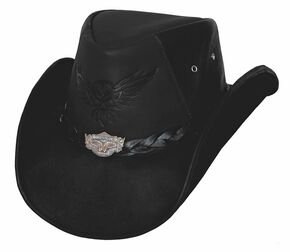 Bullhide Men's King of the Road Top Grain Leather Hat, Black, hi-res