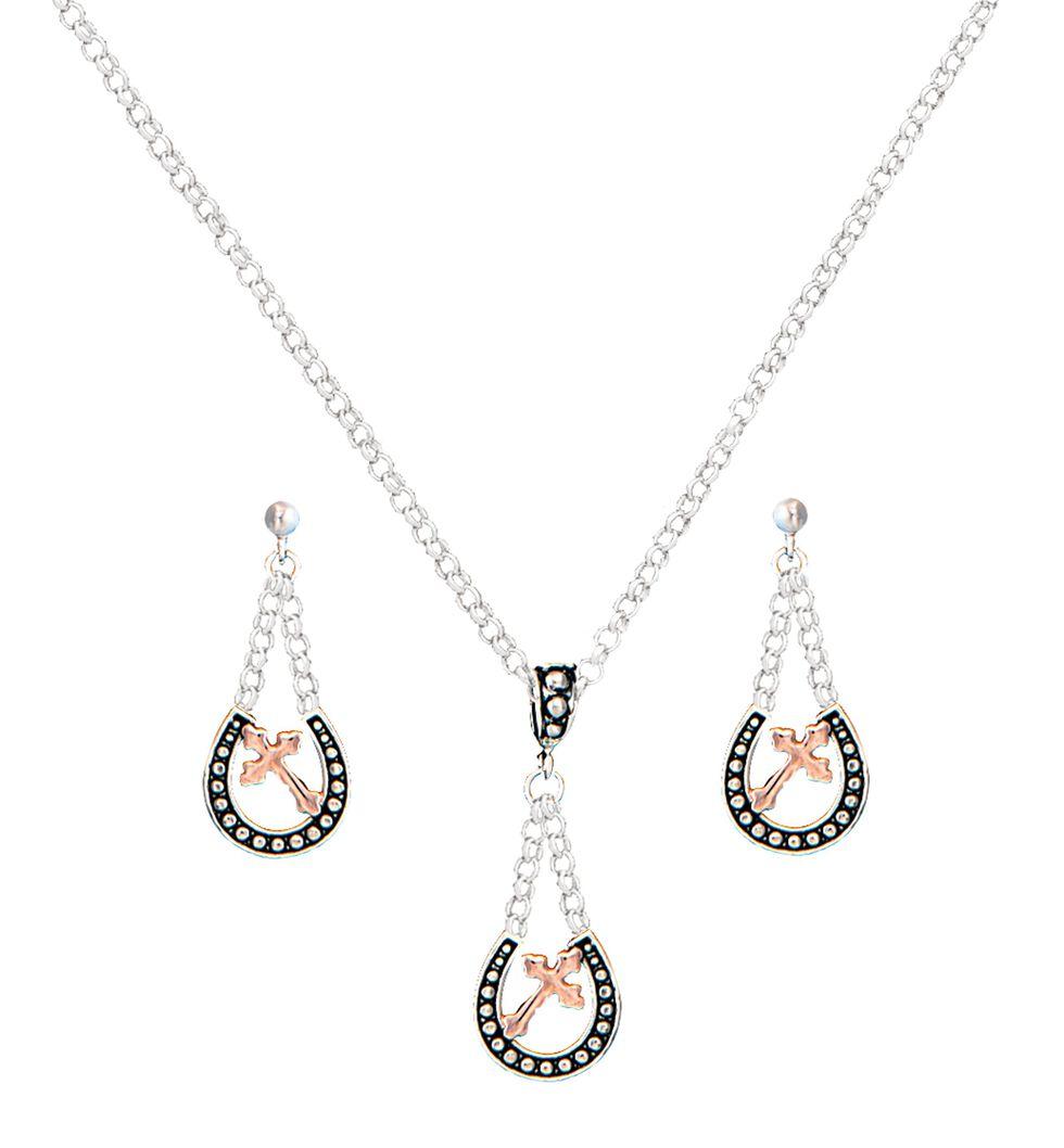 Montana Silversmiths Beaded Horseshoe & Cross Necklace & Earrings Set, Silver, hi-res