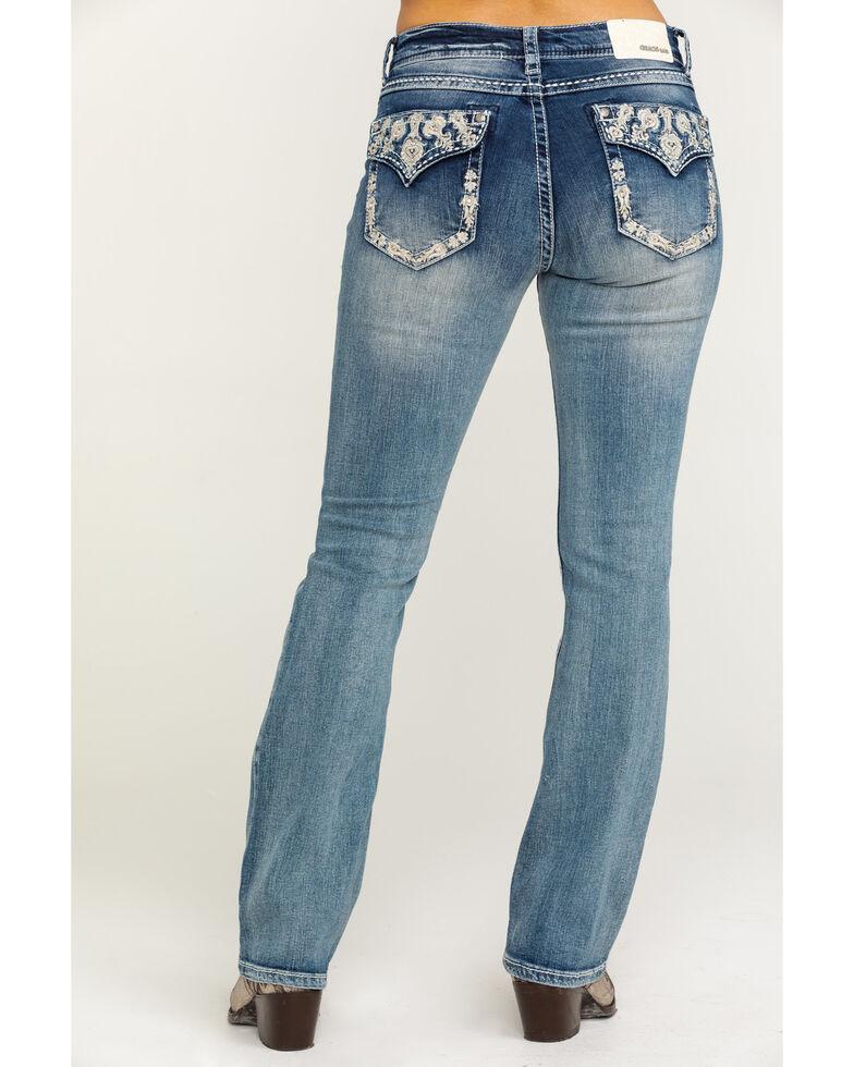 Grace in LA Women's Light Wash Floral Bootcut Jeans, Blue, hi-res
