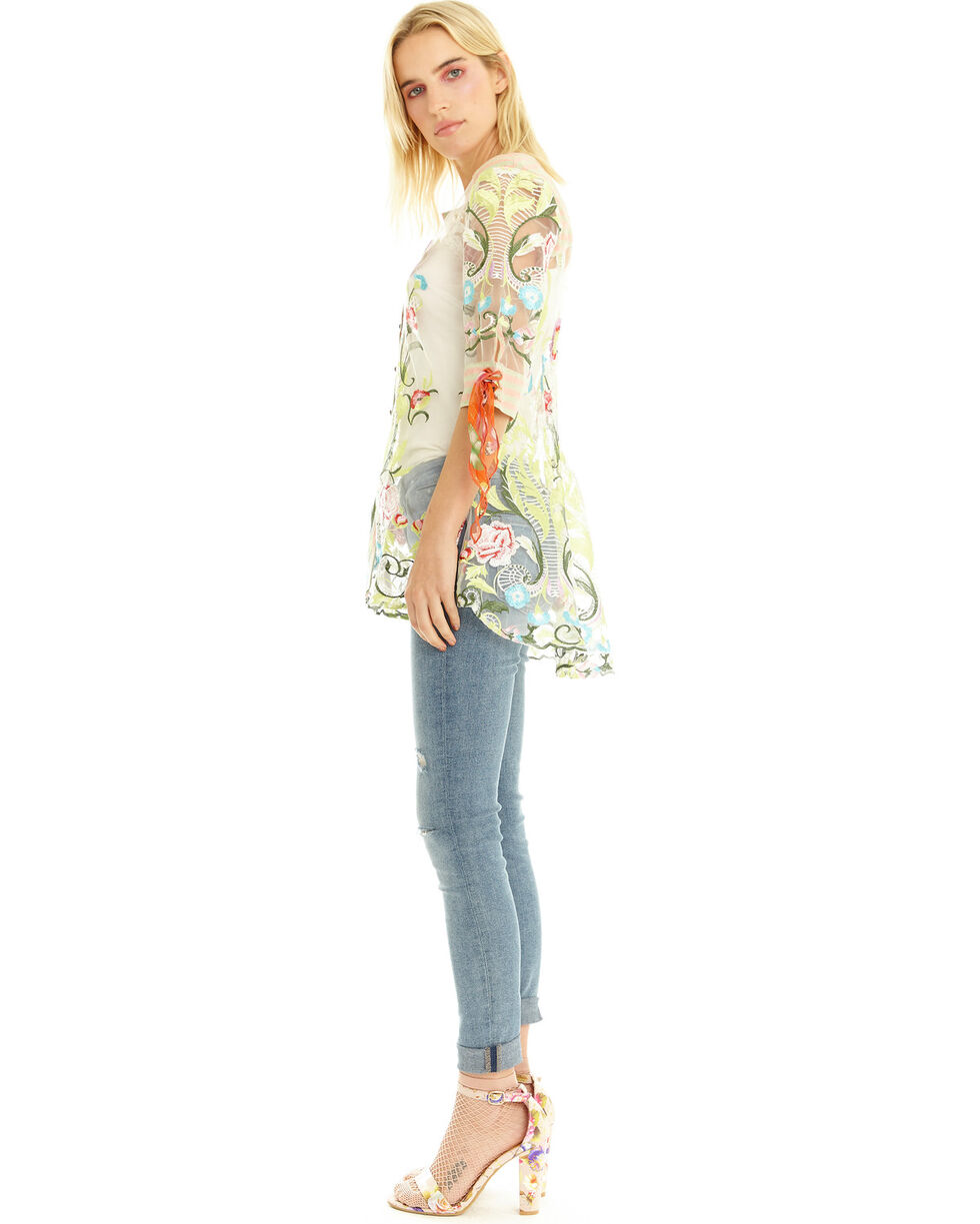 Aratta Women's Dream Girl Embroidered Button Front Shirt, Green, hi-res