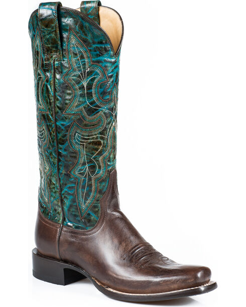 Stetson Women's Rachel Marbled Turquoise Western Boots - Square Toe, Brown, hi-res