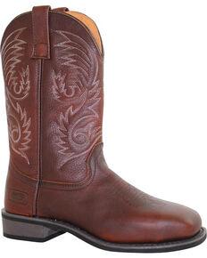 Ad Tec Men's Western Pull-On Work Boots - Steel Toe, Brown, hi-res