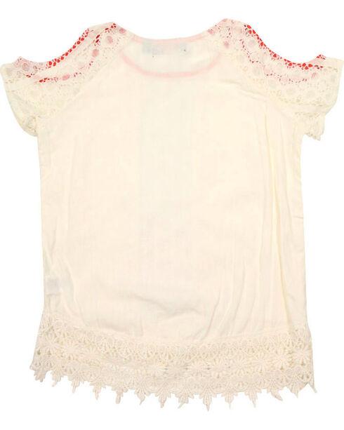 Tempted Girls' Crochet Lace Cold Shoulder Top, Ivory, hi-res