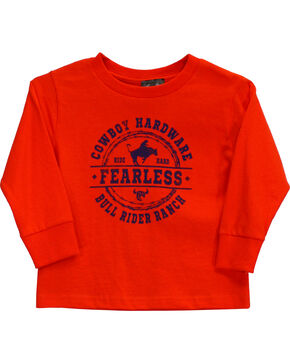 Cowboy Hardware Toddler Boys' Fearless Bull Rider Long Sleeve Tee (6MO-4T), Orange, hi-res