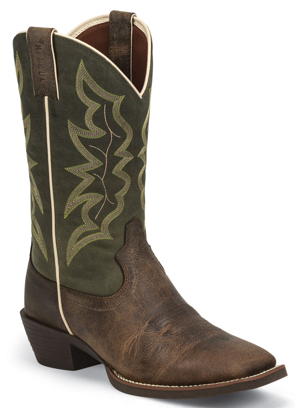Justin Men's Waxy Brown Western Boots - Square Toe , Brown, hi-res