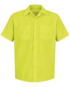 Red Kap Men's Enhanced Visibility Short Sleeve Work Shirt - Tall , Yellow, hi-res