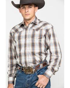 Roper Men's Brown Large Plaid Long Sleeve Western Shirt , Brown, hi-res