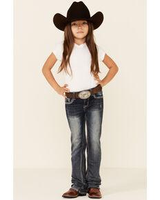 Grace In LA Girls' Medium Wash Embellished Pocket Regular Bootcut Jeans , Blue, hi-res