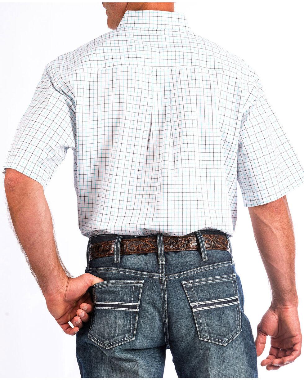 Cinch Men's White Plaid Button Up Short Sleeve Shirt , White, hi-res