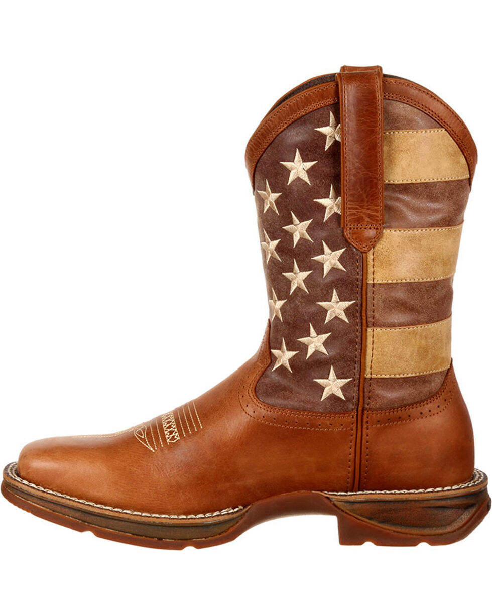 Rebel by Durango Men's Brown Faded American Flag Western Boots - Square Toe , Brown, hi-res