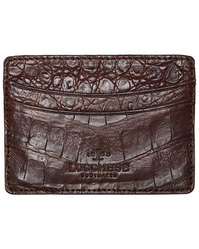 Lucchese Men's Sienna Crocodile Credit Card Case, Brown, hi-res