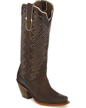 Tony Lama Women's Brown Teju Lizard Cowgirl Boots - Snip Toe, Brown, hi-res