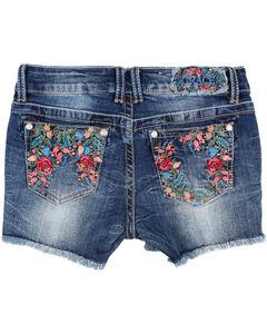 Grace in LA Blue Girls' Floral Embroidered Stitch Shorts , Blue, hi-res
