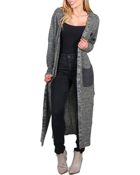Petrol Women's Floor Length Open Cardigan, Grey, hi-res